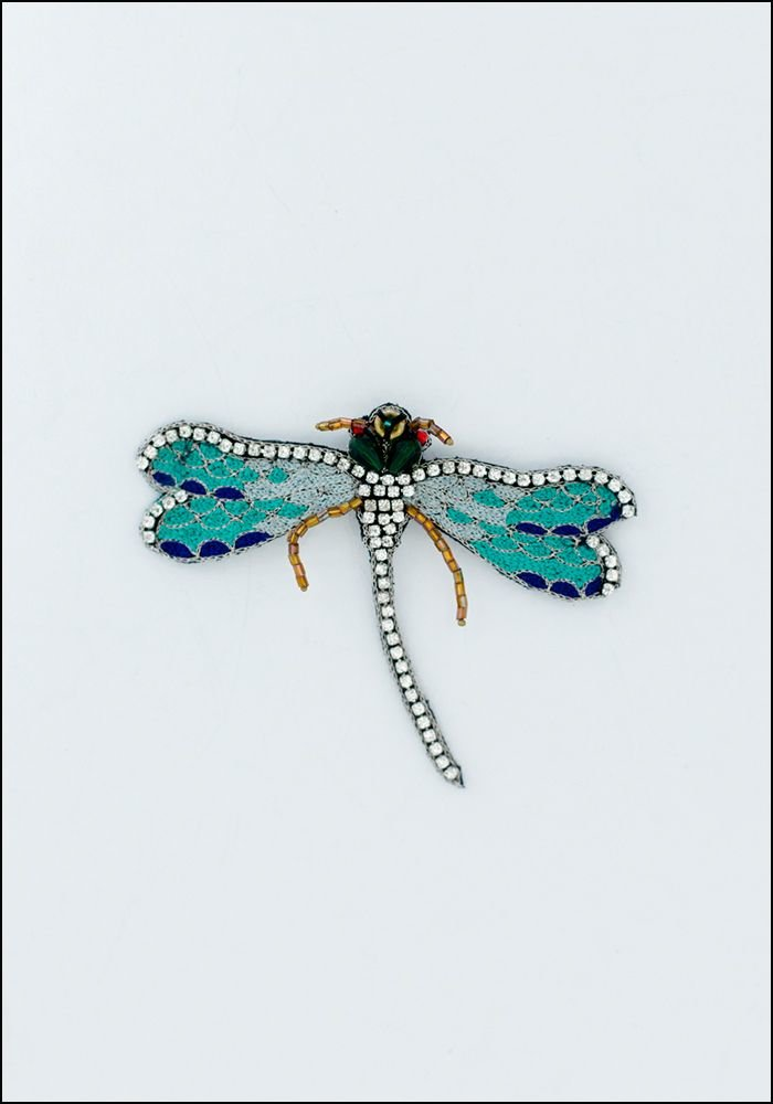Narratives Mint Green Crystal Dragonfly Embroidered Pin