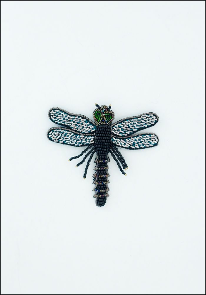 Narratives Black Beaded Dragonfly Embroidered Pin
