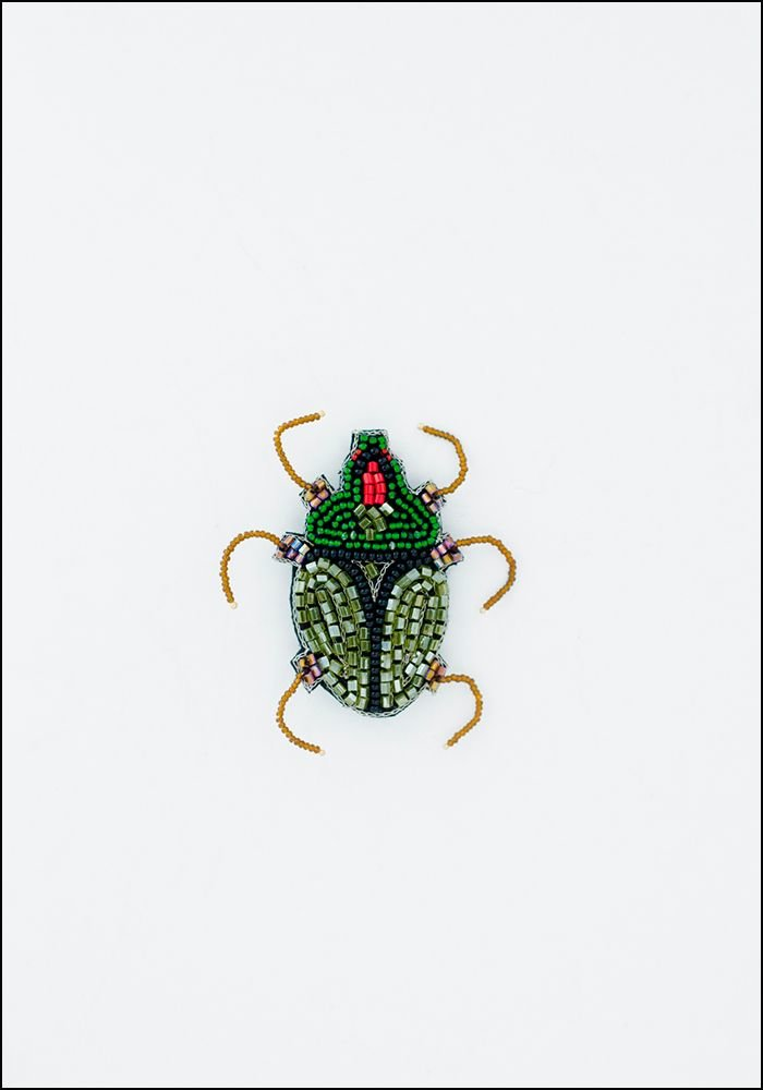 Narratives Green and Gold Beaded Beetle Embroidered Pin