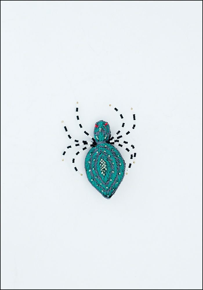 Narratives Green Spider Embroidered Pin