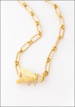 Gold Fly Choker Necklace