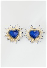 Olivia Dar Olivia Dar Blue Sparkle Heart Earrings