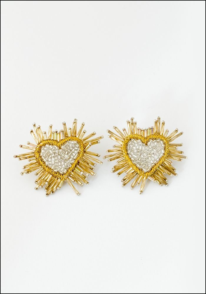 Olivia Dar Olivia Dar Silver Sparkle Heart Earrings