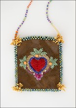 Olivia Dar Olivia Dar Embroidered Totem Heart Leather Talisman Pouch