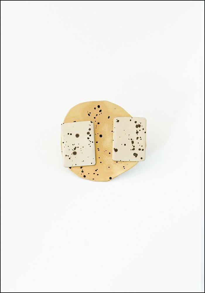 Sibilia Brass Spot Rectangle Studs