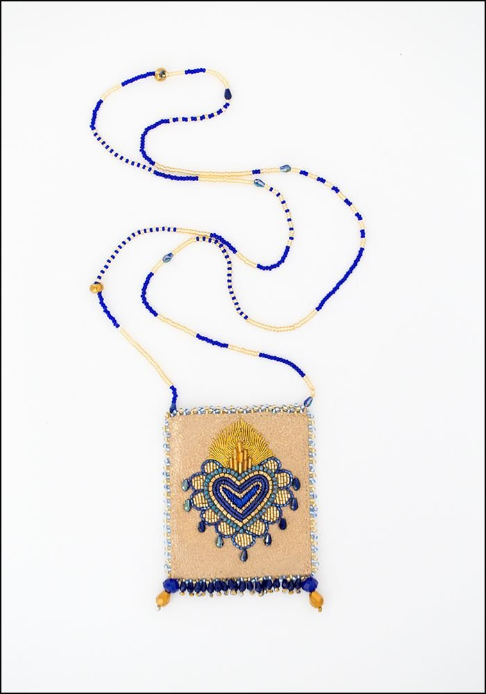 Olivia Dar Olivia Dar Beaded Blue Heart Leather Talisman Pouch