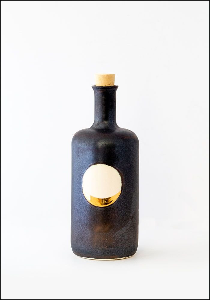 Honeycomb Black Waxing Moon Bottle
