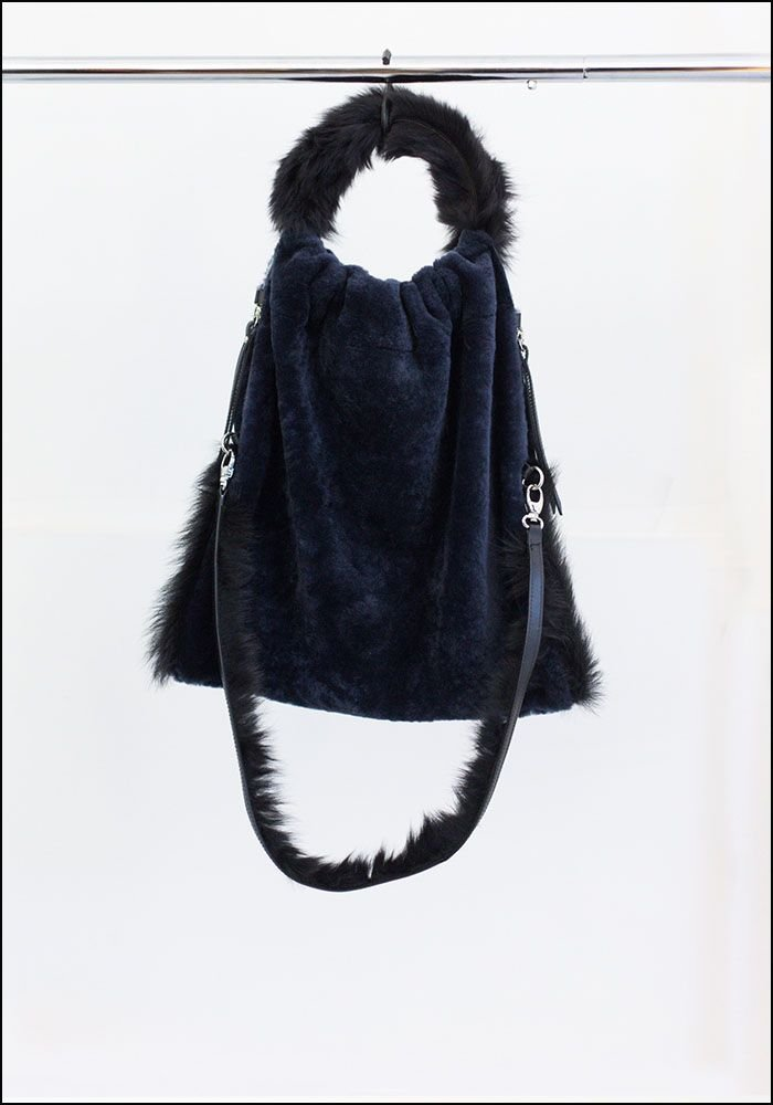 Anita Bilardi Anita Bilardi Blue and Black Fur Handle Tote