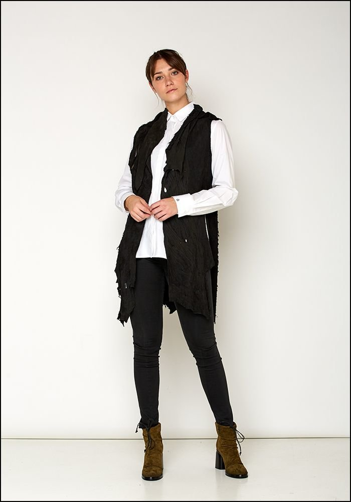 Claudio Cutuli Raw Edged Leather Vest
