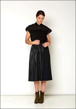 Love Binetti Love Binetti Black and Navy Pleat Dress