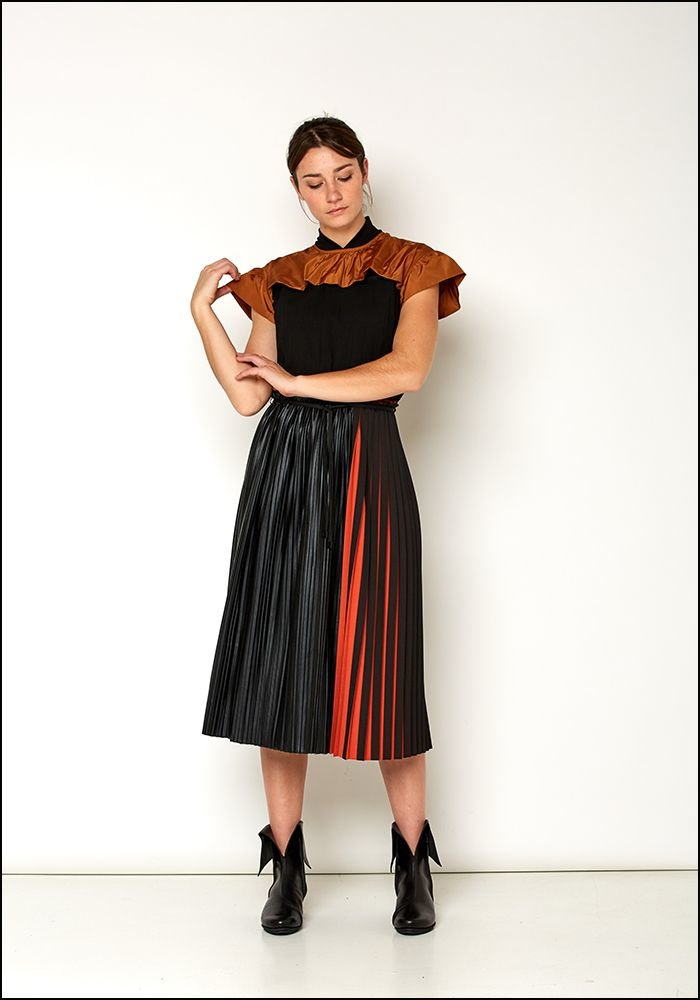 Love Binetti Love Binetti Ochre and Black Pleat Dress
