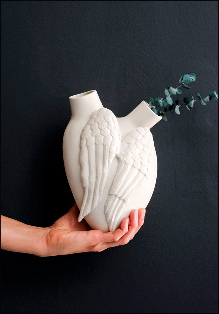 FOS Ceramiche White Wings Porcelain Heart Vase