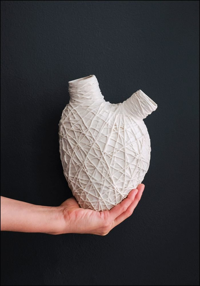 FOS Ceramiche Porcelain Lattice Heart Wall Vase