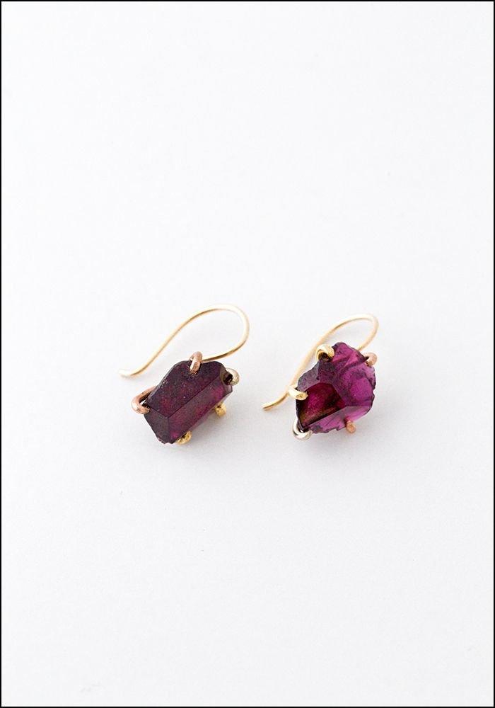 Variance Objects Garnet Hook Earrings