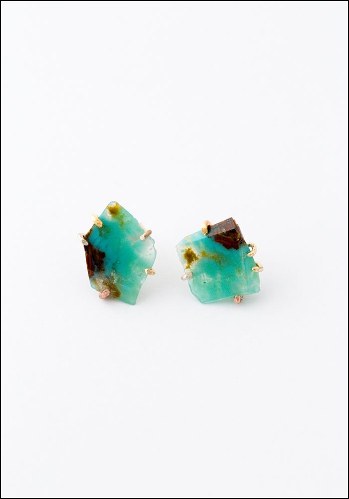 Variance Object Large Gem Silica Earringss