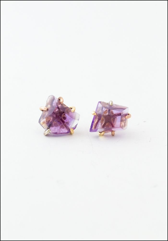 Variance Objects Large Amethyst Studs