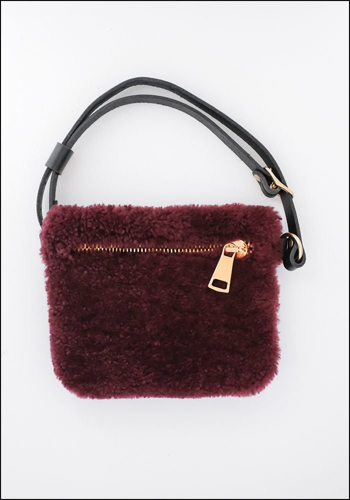 Your Bag of Holding Your Bag Of Holding Burgundy Shearling Belt Bag