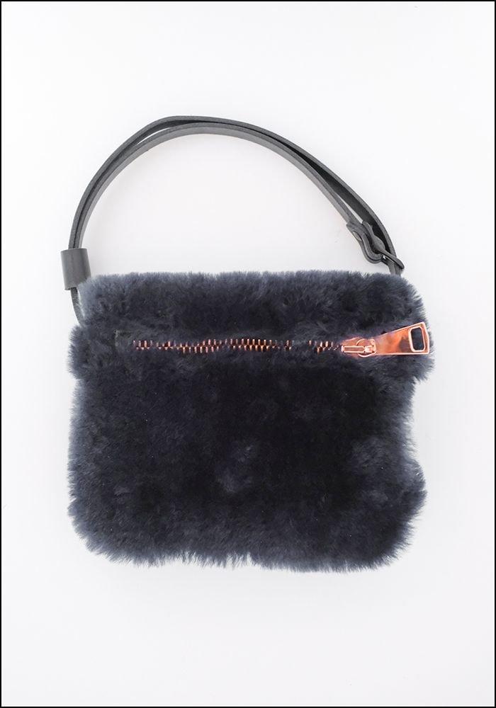 Your Bag of Holding Your Bag Of Holding Navy Shearling Belt Bag