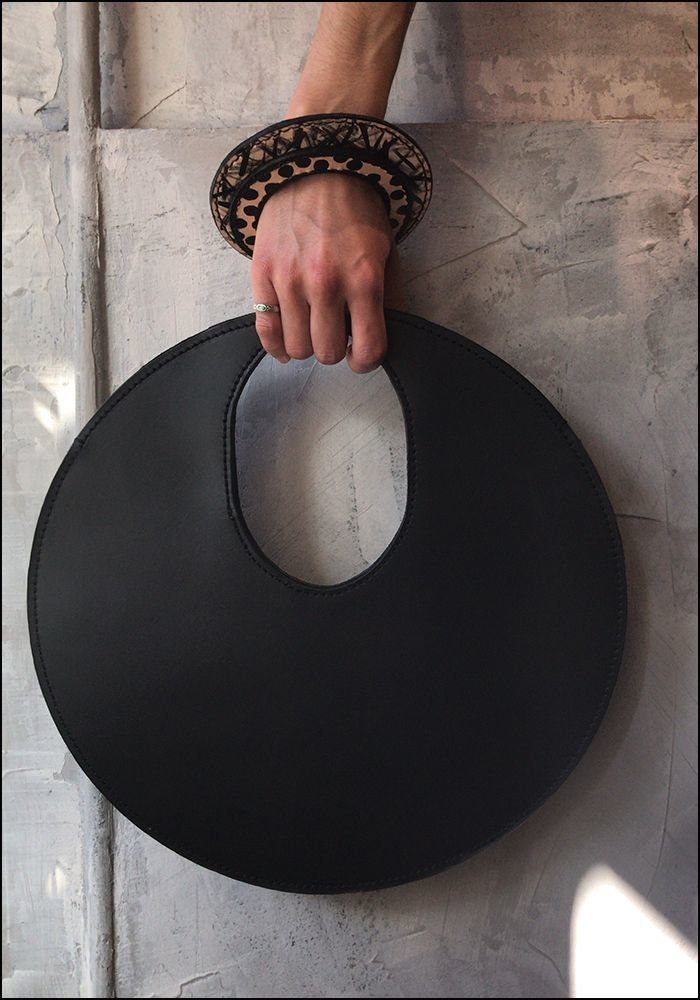 Lupa Bags Lupa Black Leather Disc Bag