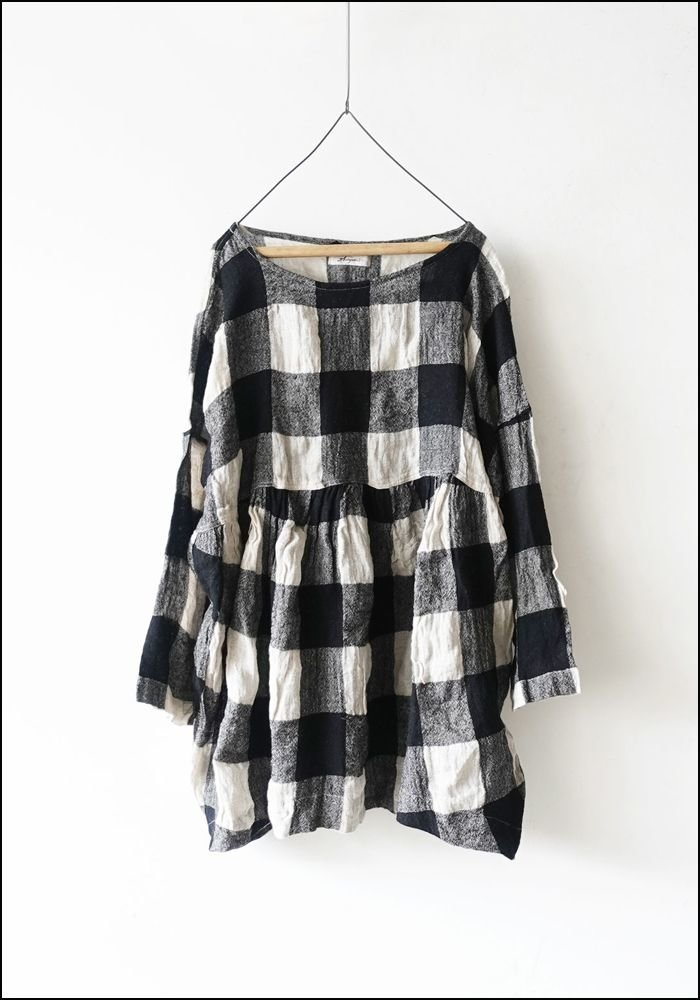 Ichi Antiquities Linen Wool Block Check Shirt 100615