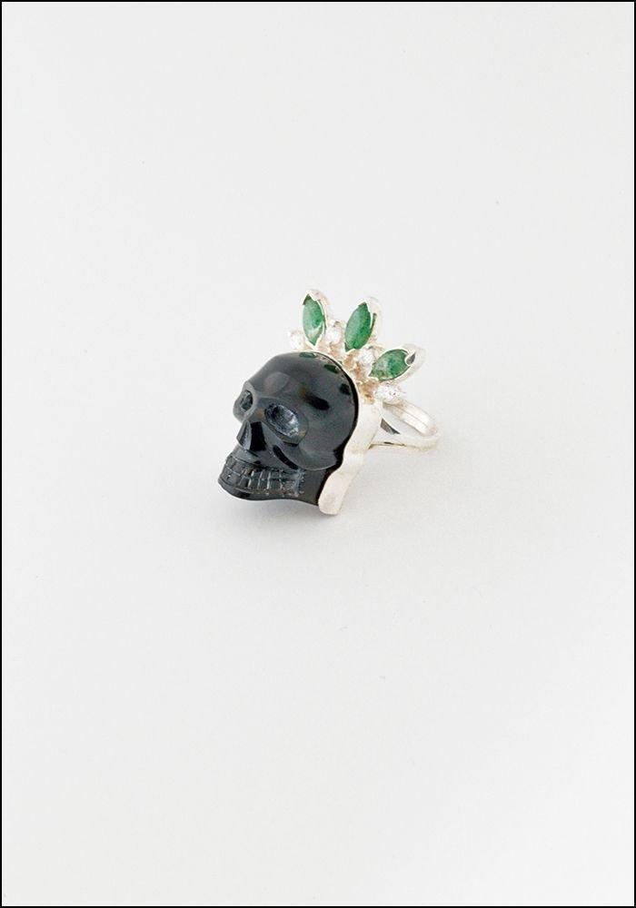 Tita Lopez Tita Lopez Carved Obsidian Skull Ring