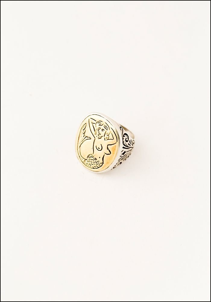 LHN LHN Mermaid Silver and Brass Signet Ring
