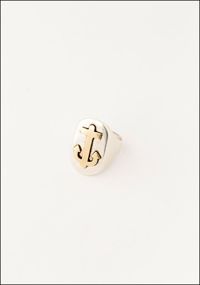 LHN LHN Silver and Brass Anchor Signet Ring