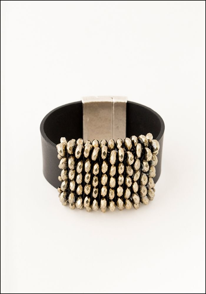 Martell Martell Studio Pyrite and Black Leather Cuff