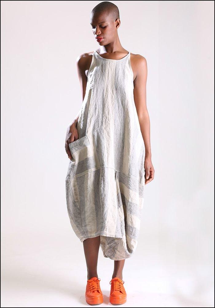Lurdes Bergada Striped Sleeveless Dress u19115