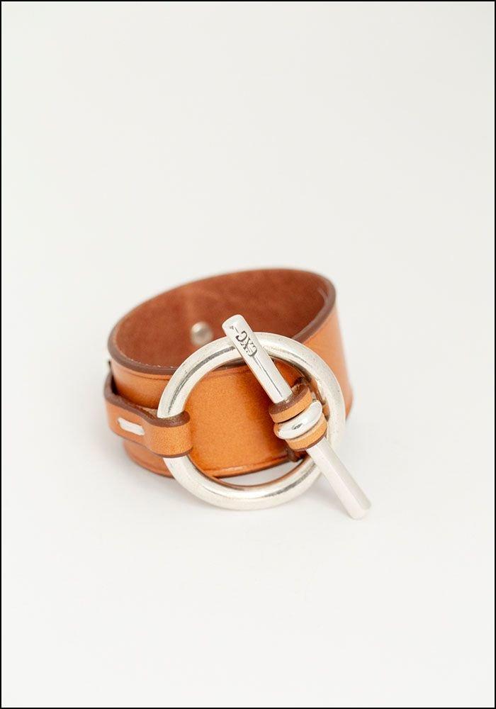 CXC Leather Toggle Clasp Cuff