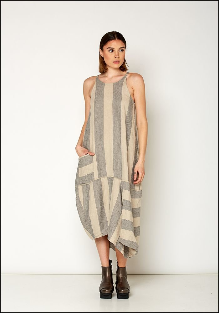Lurdes Bergada Striped Sleeveless Dress u19115