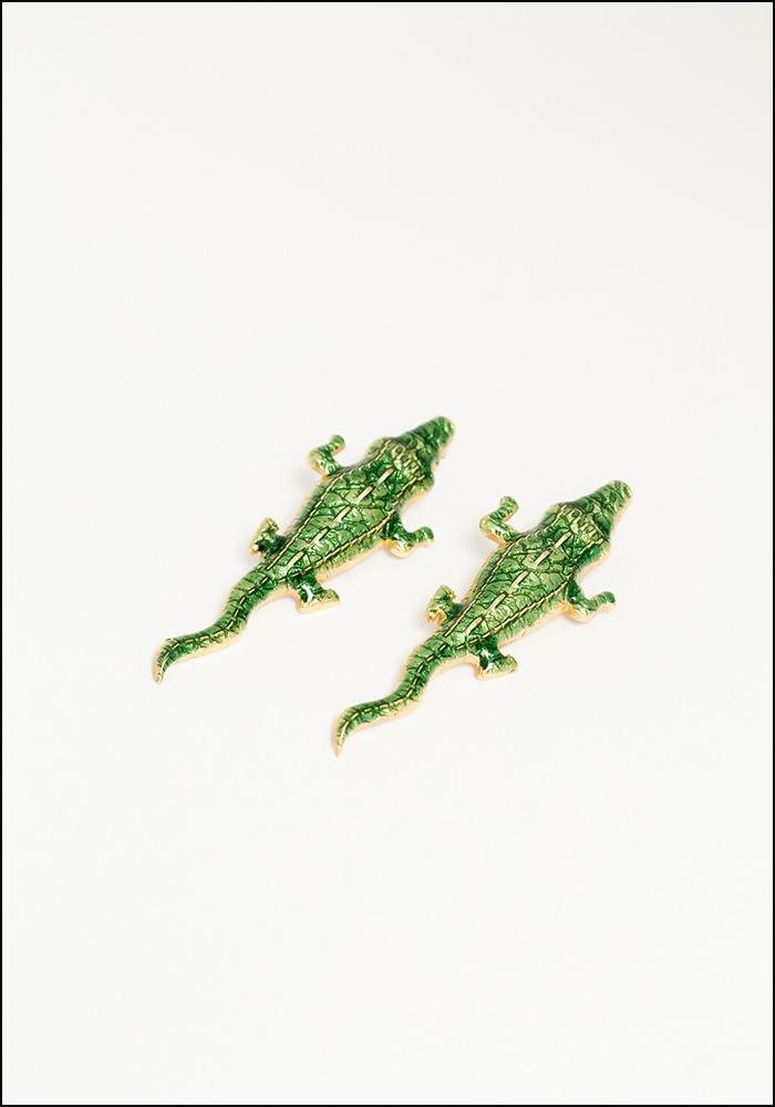 Lako Bukia Green Crocodile Earrings