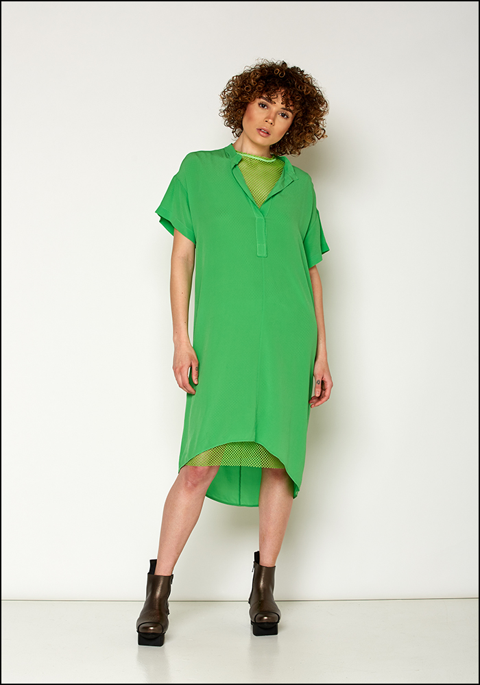 Nude Nude Apple Green Silk T-Shirt Dress
