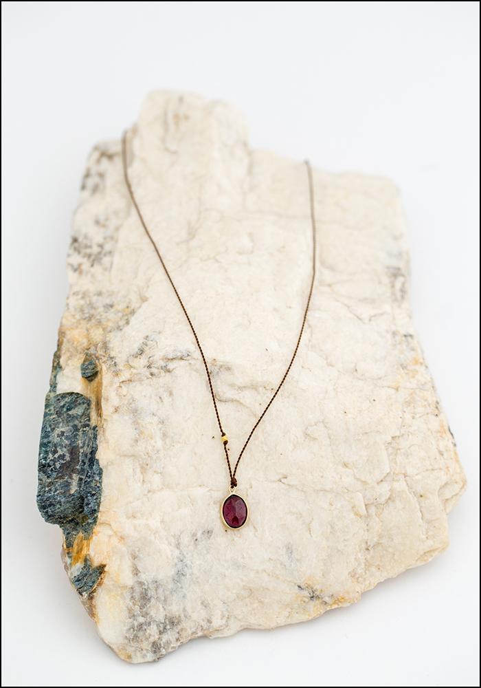Maragaret Solow Margaret Solow Rhodalite Garnet 14KT Gold Drop Necklace