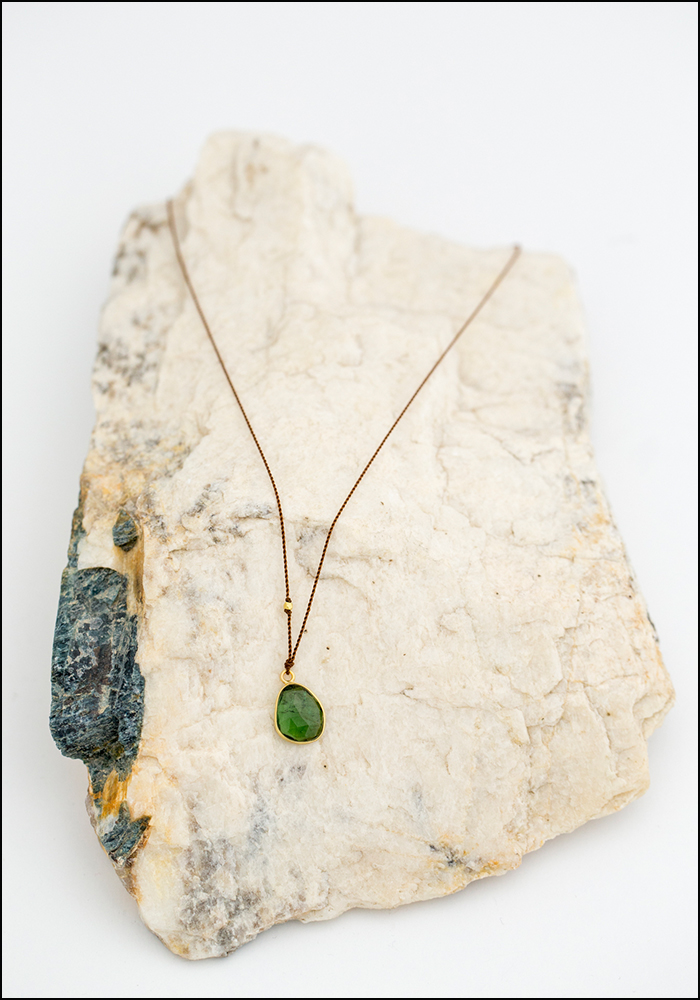 Maragaret Solow Margaret Solow Tourmaline and 14KT Gold Drop Necklace