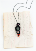 Jacki Holland Jacki Holland Ruby, Sapphire, Peach Moonstone and Vintage Coral Necklace