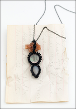Jacki Holland Jacki Holland Aragonite, Black Mother of Pearl and Grey Moonstone Teardrop Necklace