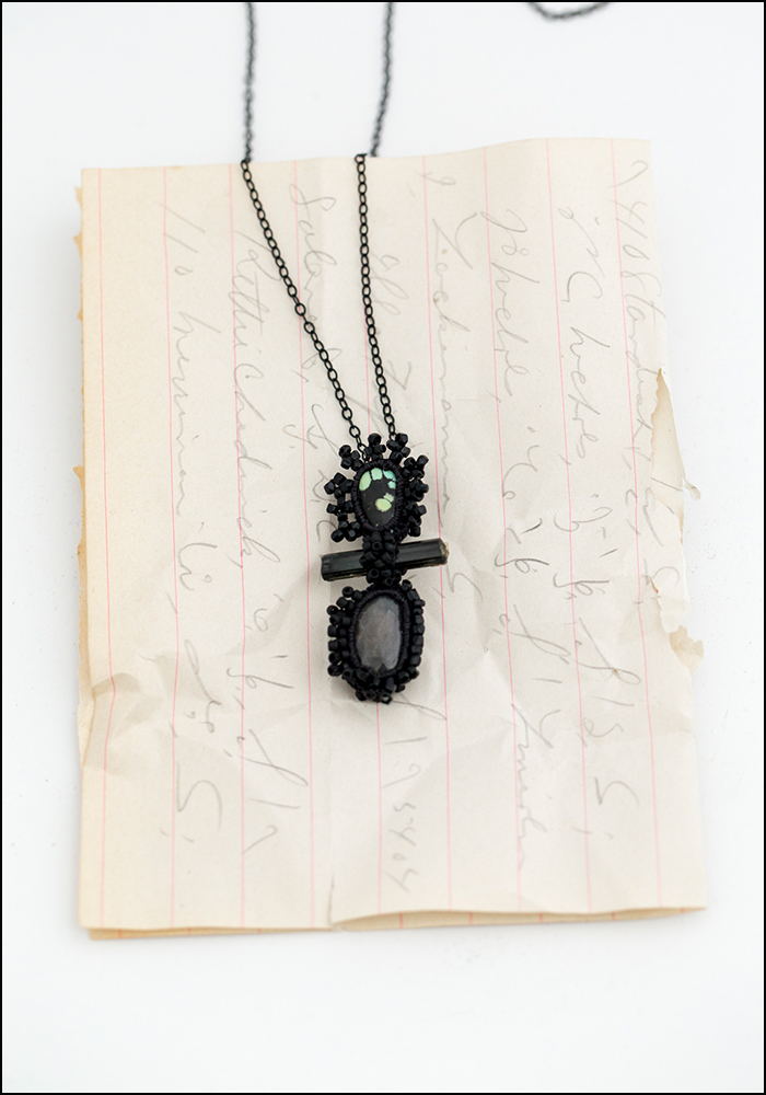 Jacki Holland Jacki Holland Hubei Turquoise, Black Tourmaline and Sapphire Necklace