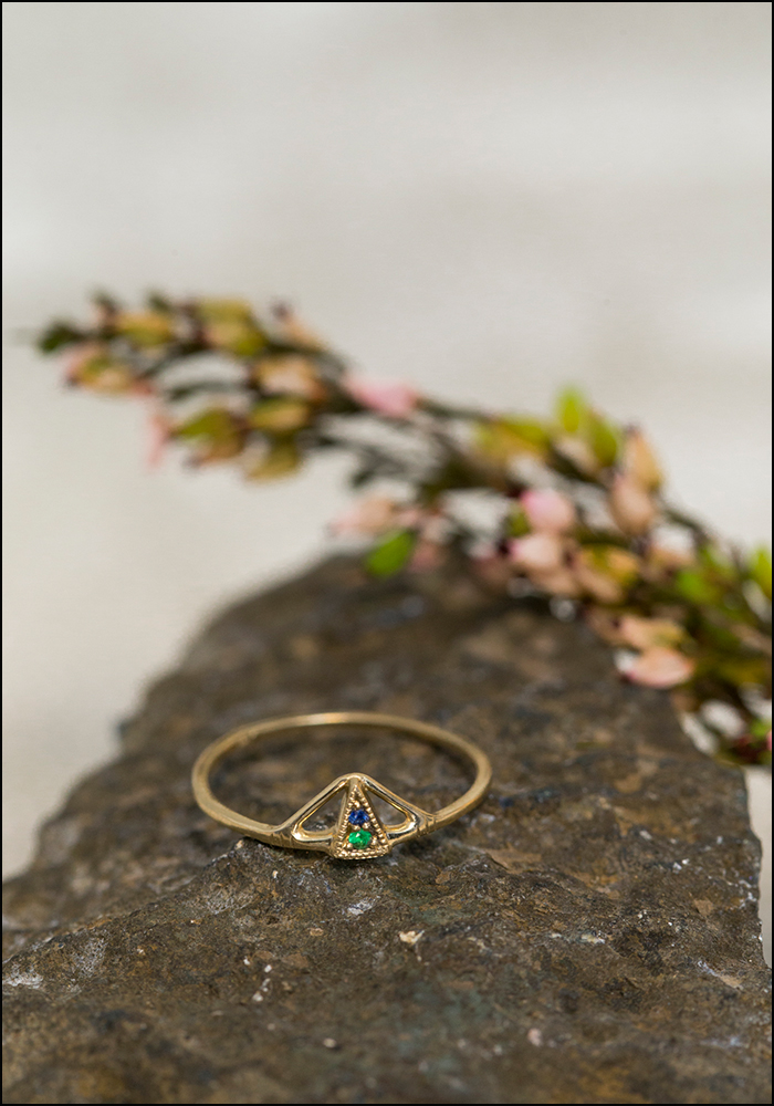Lio and Linn Lio and Linn 14KT Sapphire and Emerald Pinty Pyramid Ring