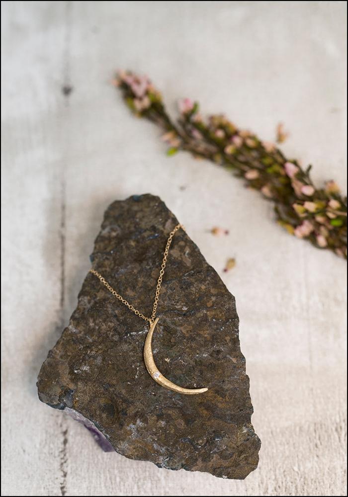 Robin Haley Robin Haley 14KT Large Moon Diamond Necklace