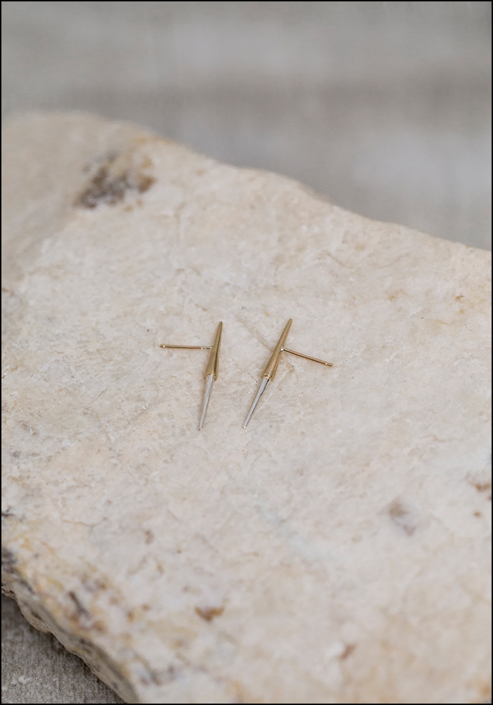 Kller Kller Collection 10KT and Sterling Silver Petite Bionic Spike Studs