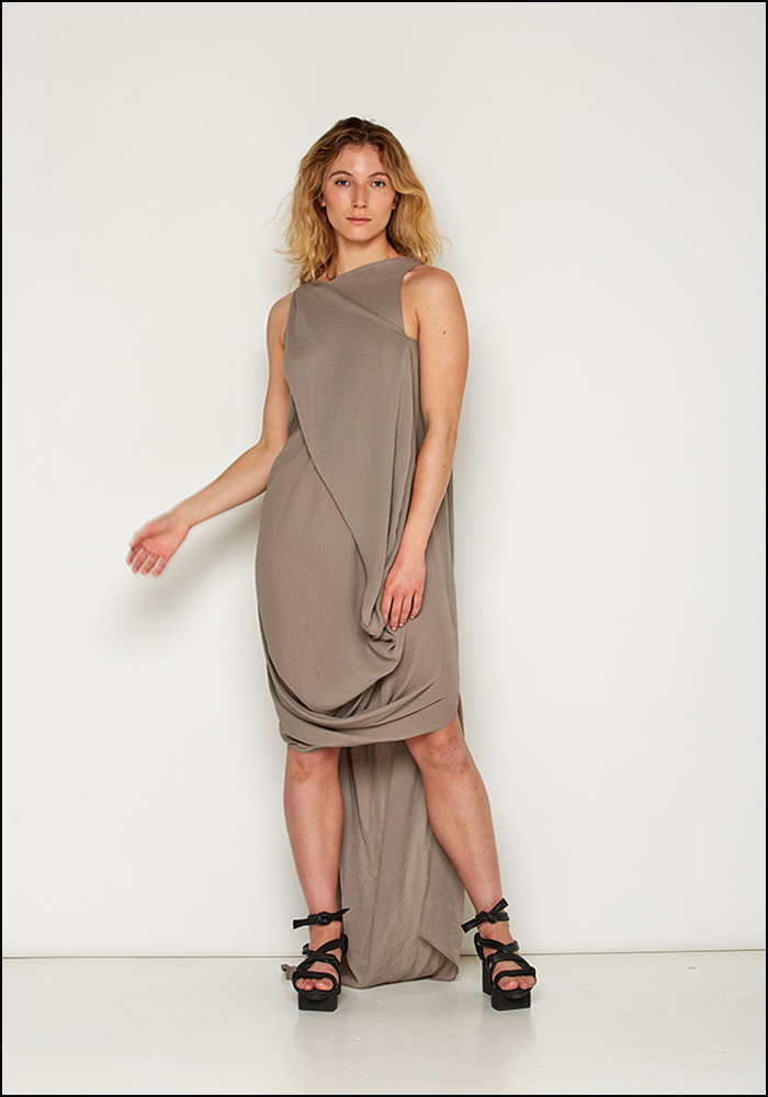 139Dec 139DEC Asymmetric Draped Detail Dress