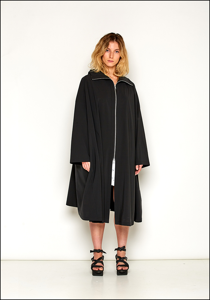 UCF Black Zip Cape Coat