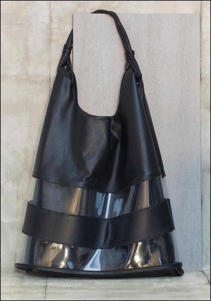 Anita Bilardi Anita Bilardi Black Leather and Poly Picasso Bag