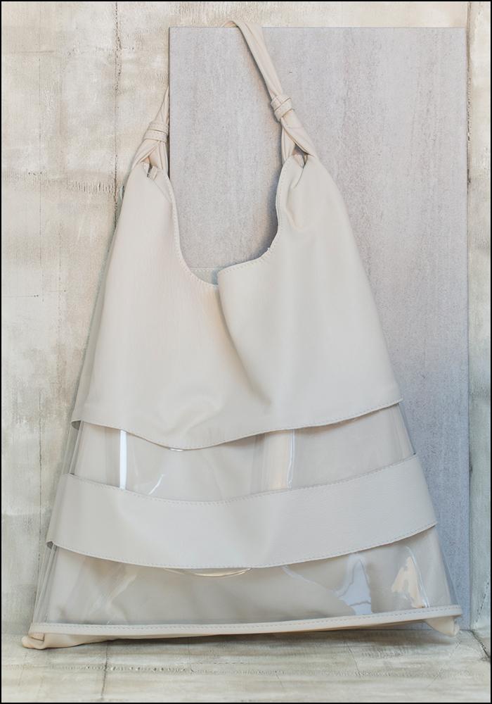 Anita Bilardi Anita Bilardi Taupe Leather and Poly Stripe Picasso Bag