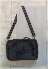 Gabriele Frantzen Woven Black Rafia Cross Body Bag