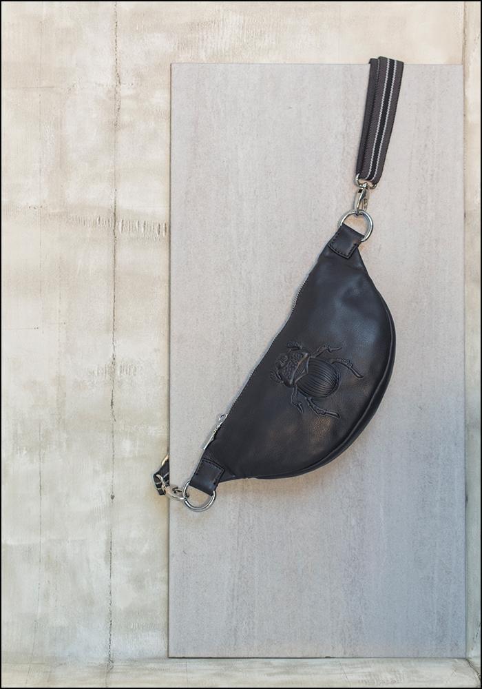 Gabriele Frantzen Black Embossed Leather Scarab Belt Bag