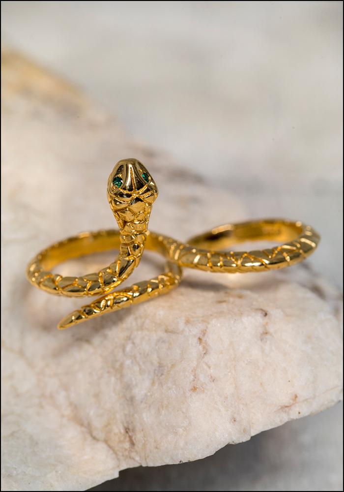 De La Rosa De La Rosa Infinity Snake Double Finger Ring