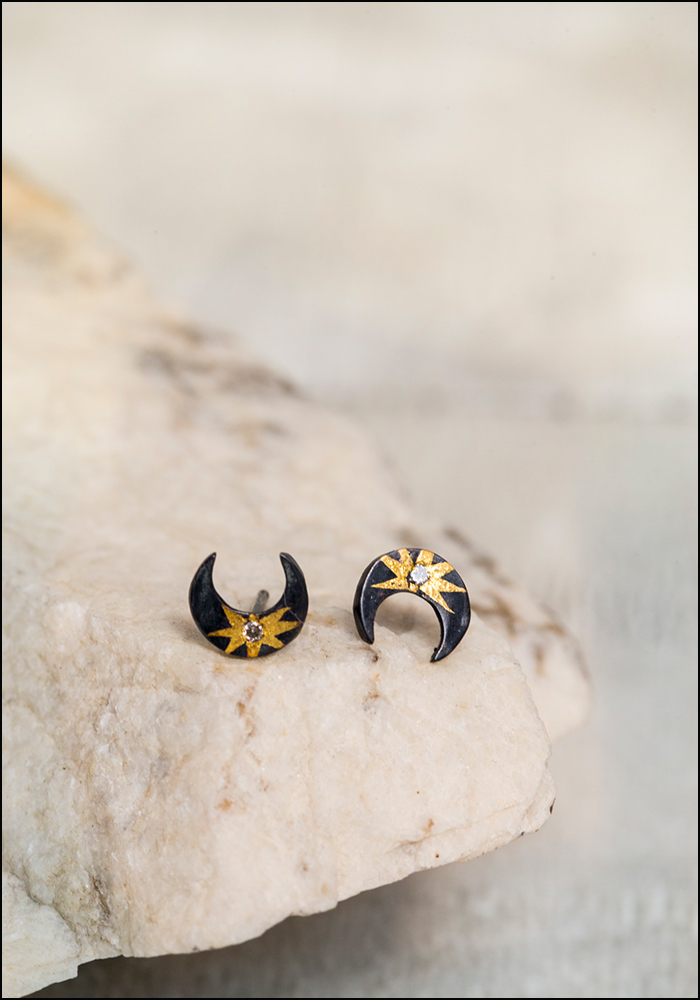 Acanthus Celestial Moon Studs