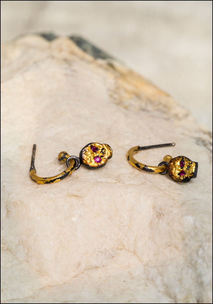 Acanthus Gilded Hoop and Ruby Eye Skull Charm Studs